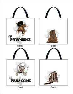 Shopping-Bag-Set-of-2-Dog-amp-Cat-Design-Tote-Reusable-Waterproof-Carry-Groceries