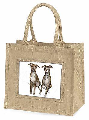 Whippet Hunde Große Natürliche Jute-einkaufstasche Weihnachten , AD-WH91BLN
