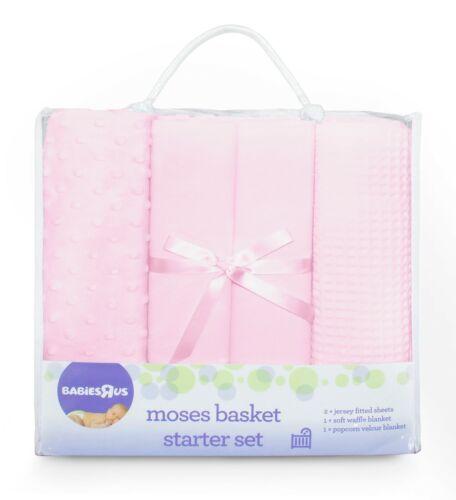 100/% Cotton Nursery Baby Pram//Moses 4pce BRU Starter Set Cellular Popcorn Jersey