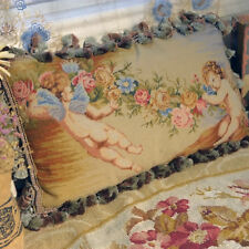1.6' Stunning Wool Needlepoint Pillow Cushion Cherub Rose Antique Design