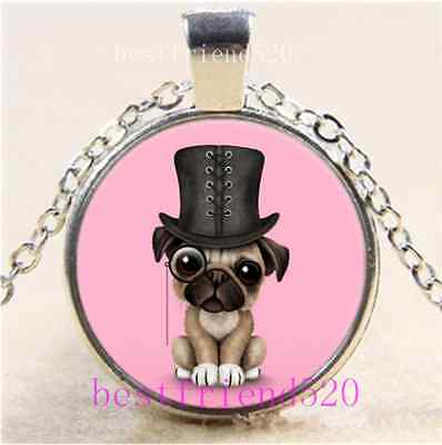 Cute Pug Puppy Photo Cabochon Glass Tibet Silver Chain Pendant Necklace