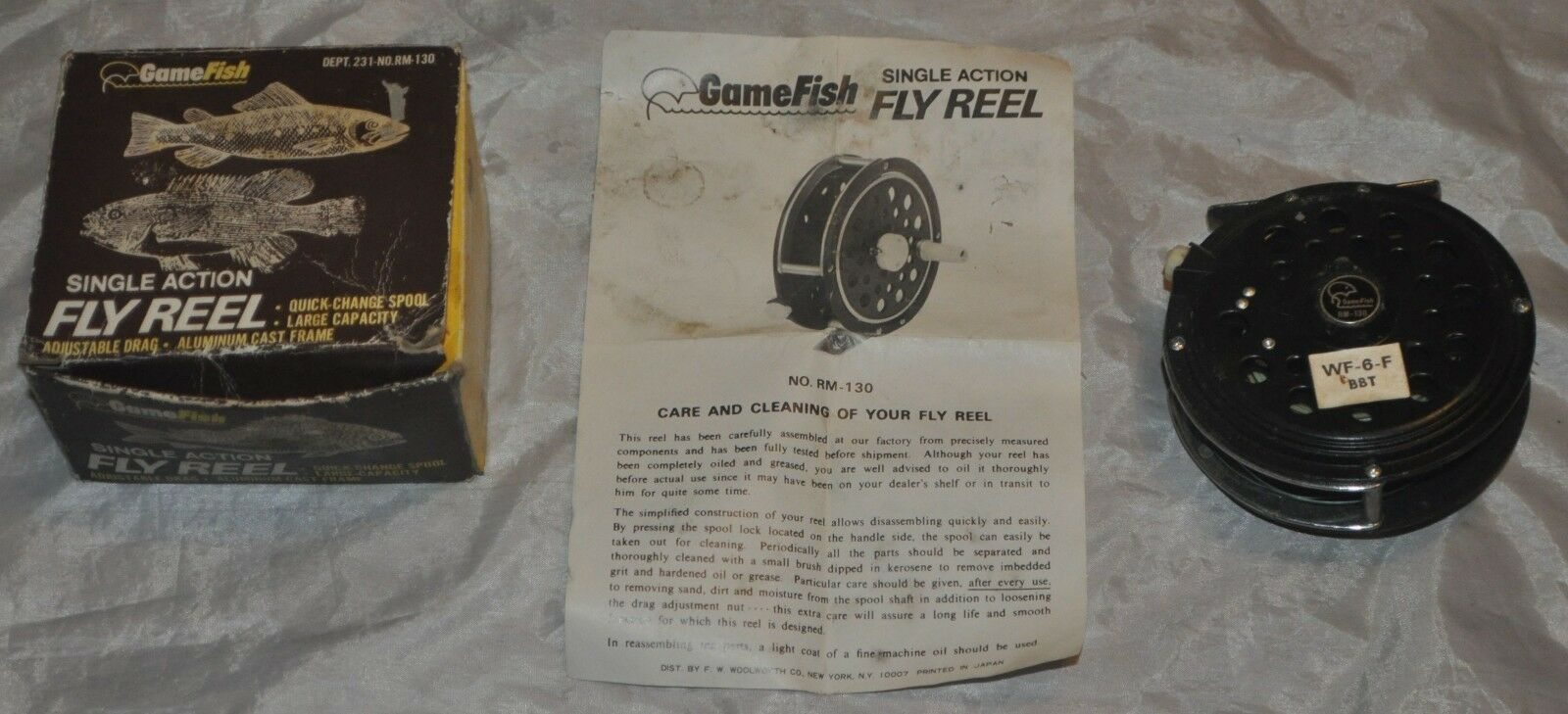 Vintage GameFish Rm-130 Japan Fly Fishing Reel w  Original Box