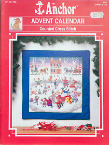 Anchor-Counted-Cross-Stitch-Advent-Calendar-17908-Vintage-1990-Christmas-Holiday