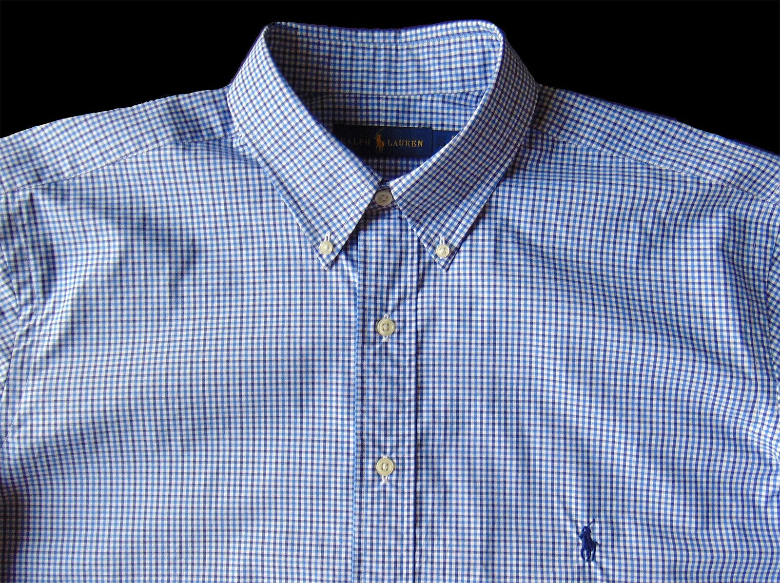 Men's RALPH LAUREN White bluee Navy Gingham Plaid Shirt 3XLT 3XT NWT NEW Classic
