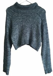 daae8faa570 Details about Zara Knit Charcoal Grey Chunky Oversized Cosy Cropped Jumper  Sweater M 8 10