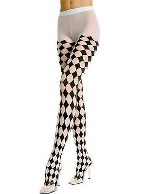 DIAMOND or JESTER Harlequin Style PANTYHOSE/TIGHTS BLACK/WHITE O/S