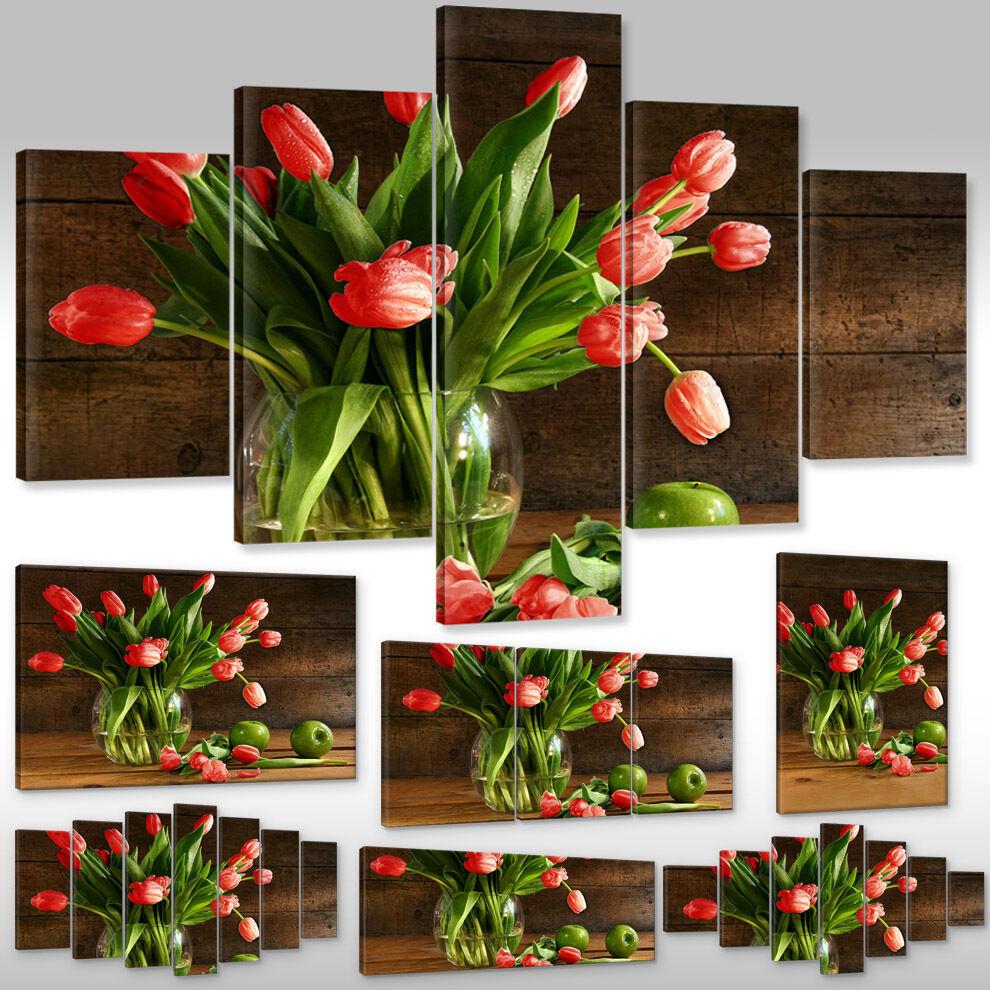 Leinwandbild Canvas Wandbild Kunstdruck Pflanzen Blaumen rote Tulpen in der Vase