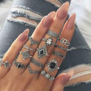 15-teile-satz-Finger-Ring-Vintage-Hohl-Lotus-Punk-Knuckle-Ringe-Schmuck-U2S6
