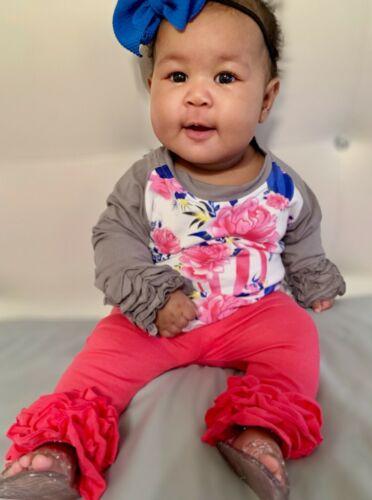 Toddler Baby Girls balloon 2 Pc Top Ruffles Pants boutique Set 1 2 3 6-9 mo