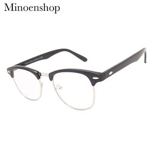 c447740cbc64 Black Silver Clear Lens Browline Glasses Men s Women s Vintage 40 s ...