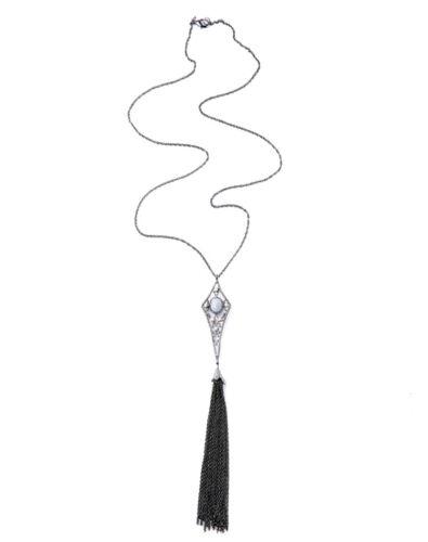 Collier Pendantif Long Sautoir Pompon Argenté Art Deco Bleu Noir Original DDZ 1
