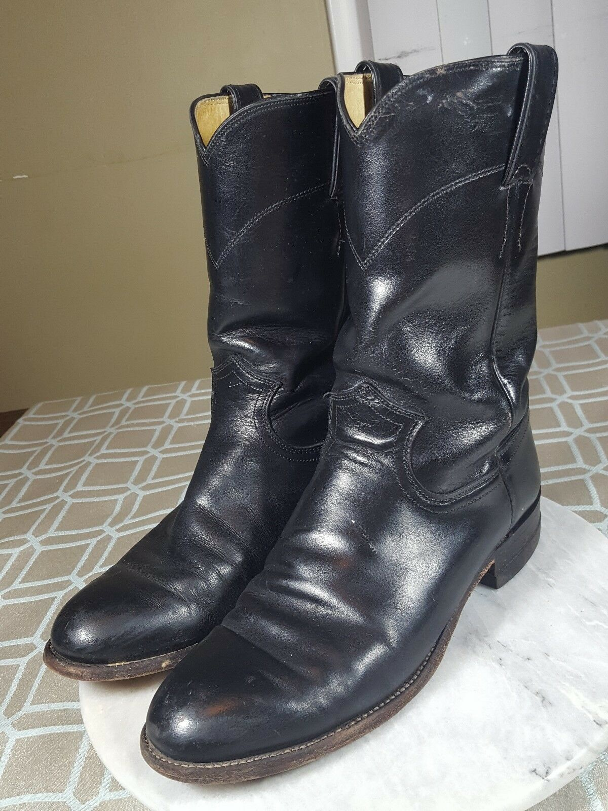 Vintage Justin Basics Roper Black Soft Leather Boots Woman's size US 7.5 D M