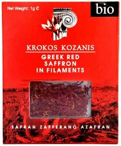 KROKOS KOZANIS RED SAFFRON GREEK BIO ORGANIC IN FILAMENTS BOX PACK 1gr