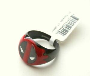 Marvel-Comics-Deadpool-Ceramic-amp-Stainless-Steel-Logo-Ring-New-Sz-9-Box