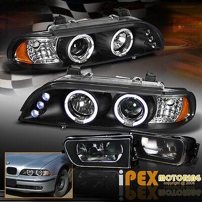 For 1997-2000 BMW E39 5-Series 528i/540i Halo LED Head Light + Black Fog Lamp