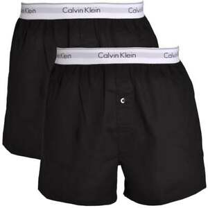 580a82498 Details about Calvin Klein Men's CK Modern Cotton Slim Fit Woven Boxers  Shorts 2-Pack, Black