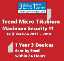 3 in 1 Trend Micro Maximum Security 2017 1 Year 3 Devices Windos Mac Android iOS