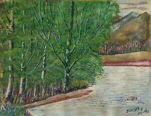 JOHN-R-WATTS-Folk-Art-Watercolor-amp-Gouache-Landscape-Painting-U-S-C-1890