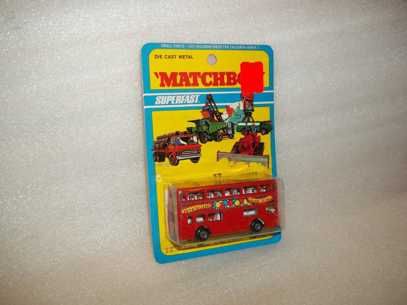 Matchbox Matchbox Matchbox Superfast No. 17 Londoner Swinging Lodon 1971 on Card e639a8