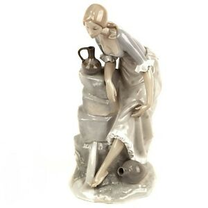 Lladro-Nao-034-Girl-With-Water-Jugs-034-Large-Porcelain-Figurine-13-034-Tall-Great-Gift