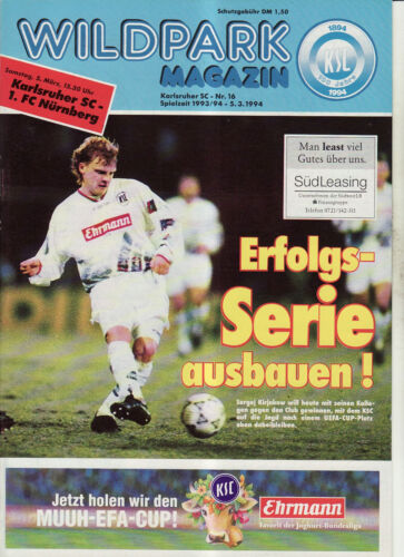 1 FC Nürnberg BL 93//94  Karlsruher SC