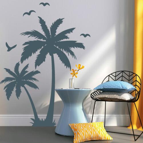 11127 Wandtattoo Palmen mit Vögeln Palm Tree Karibik Baum Sommer Palme Vogel