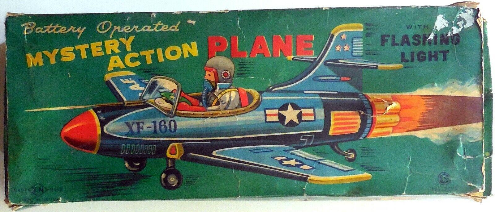 VINTAGE TIN TOY T.N NOMURA JAPAN XF-160 PLANE AIRPLANE BOXED 1950-60s