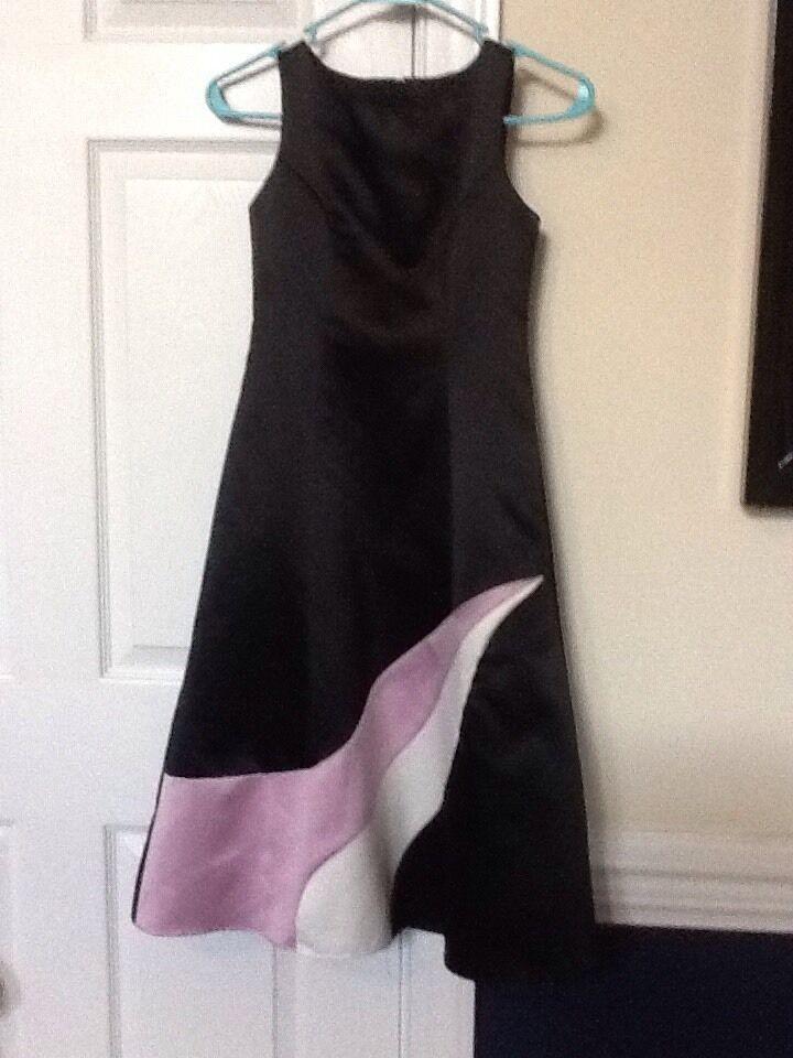Girls Size 8 JESSICA McCLINTOCK GIRLS Black Satin Formal Gown