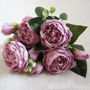 Kuenstliche-Seide-Pfingstrose-Blumen-Blumenstrauss-Gefaelschte-Blatt-Hochzeit-OE