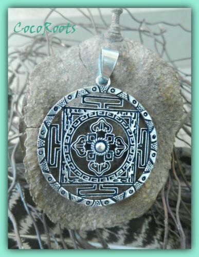 Geometric Tribal Pendant Tibetan Mandala Vintage Round Necklace Free Chain