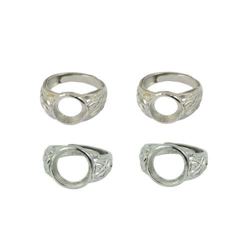 4pcs Filigree Round Bezel Adjustable Flower Ring Blank Bases Setting 10//12mm