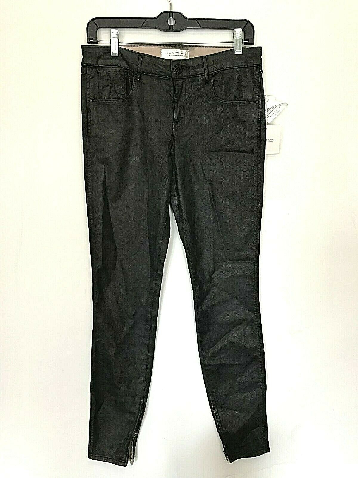 NWT HABITUAL COATED DENIM CHARCOAL COLOR SKINNY LIKE LEATHER PANTS JEANS Size 28