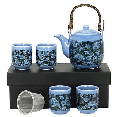 5 PCS Japanese Porcelain Blue Cherry Blossom Leaves Tea Pot Cups w/ Strainer Set