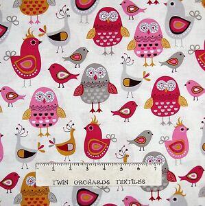 Kitchen-Fabric-Tossed-Pink-amp-Gray-Bird-Owls-on-Cream-Timeless-Treasures-YARD