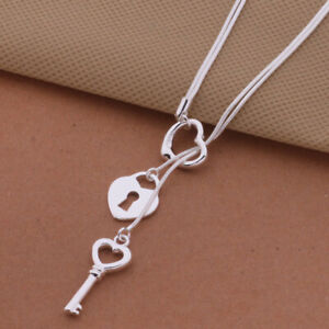 925-Silver-Heart-Key-Pendant-Couple-Necklace-Charms-Jewelry-Gift-Acces