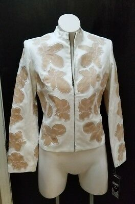 Delightful Colors And Exquisite Workmanship Humorous Bianca Nygard Novel Designs White/tan Lined Woman's Career Blazer Sz 8 Rt $198.00 Famous For Selected Materials