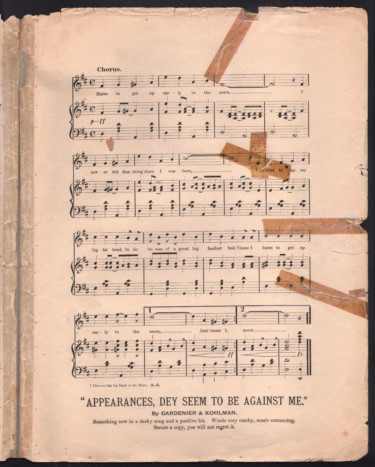 I Hates to Get Up Early In In In De Morn 1901 Josephine Sabel Large Format Sheet Music b148a8