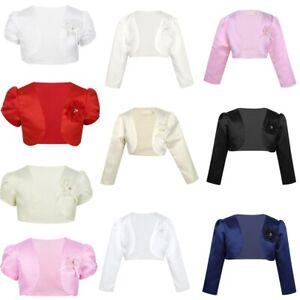 Kids-Girls-Long-Sleeve-Shrug-Short-Cardigan-Bolero-Jacket-Wedding-Party-Cover-Up