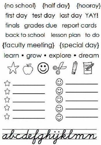 "#77053  SRM Clear Stamp 4/""x6/"" SCHOOL DAYS PLANNER Calendar"