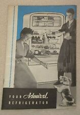 1946 Your Admiral Refrigerator Ice Cream Roll Crab Meat Recipe Cook Book Booklet