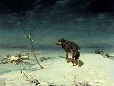 Lone Wolf 4 Looking over Village Winter Alfred Kowalsky-Wierusz  12 x 16
