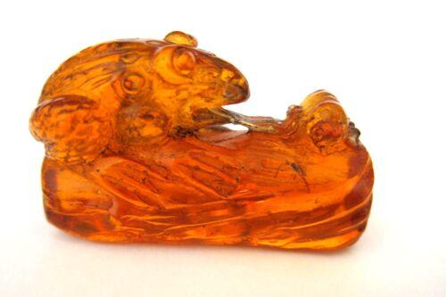Frog on Log Eats Bug Vintage Japanese Amber Netsuke signed