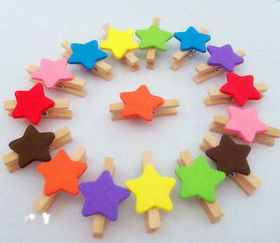 100x Mini colorful star Wooden Clips card Photo note memo Clothes Peg Clothespin