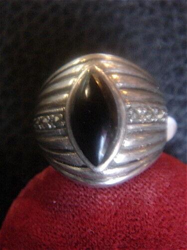 Anillo Vintage Onyx y Marcasita en silver   Nuevo T.58