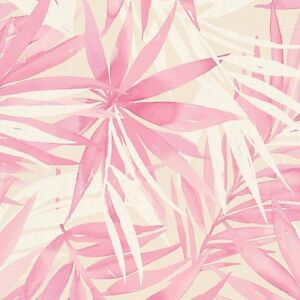 Image Is Loading Pink Cream Amp White Palm Leaves Tropical Wallpaper