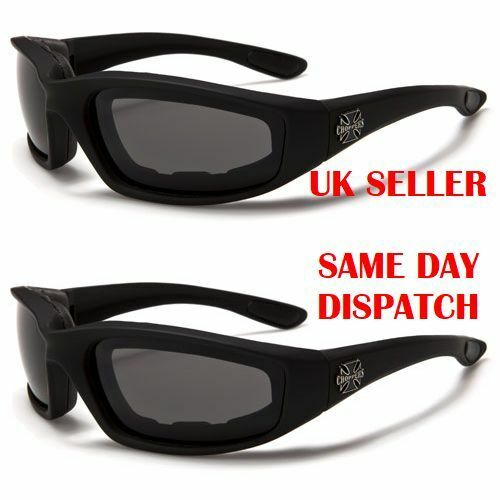CHOPPERS Padded Mens Rectangle Goggles Sunglasses 100/%UV400 1201