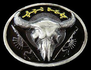 Texas-Cow-Steer-Longhorns-Western-Art-Belt-Buckle-Boucle-de-Ceinture