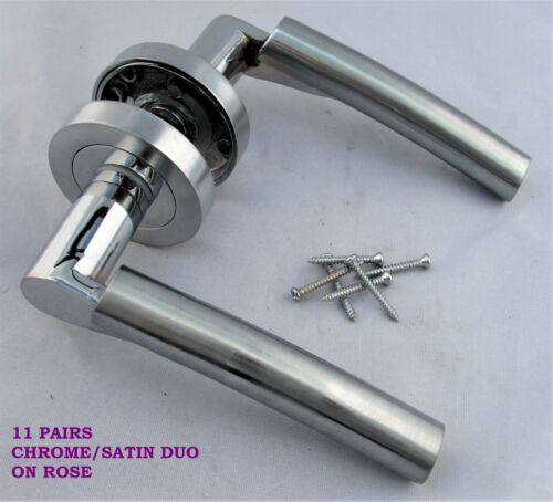 1-15 Sets Verona Chrome Satin Duo Interior Door Handles on Rose FREE DELIVERY D3