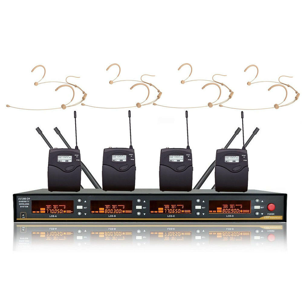 4 Wireless Microphone System UHF Professional Cordless Mike Microphone 4 Headset