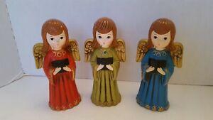 3 Vintage Christmas Paper Mache Singing Choir Angels 1960s ARDCO Japan Figurines